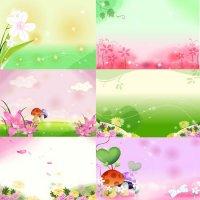 Цветочки и грибочки - Фоны для фотошопа