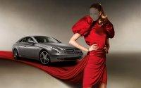 Шаблон для фотошопа — в красном платье на фоне авто