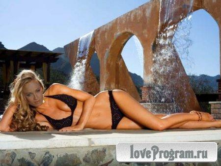 Женский шаблон для фото — девушка на фоне водопада