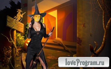 Шаблон для фотошопа — костюм ведьмы