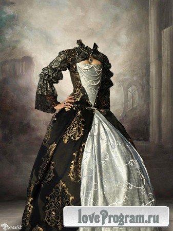 Шаблон для фотомонтажа — женский старинный костюм