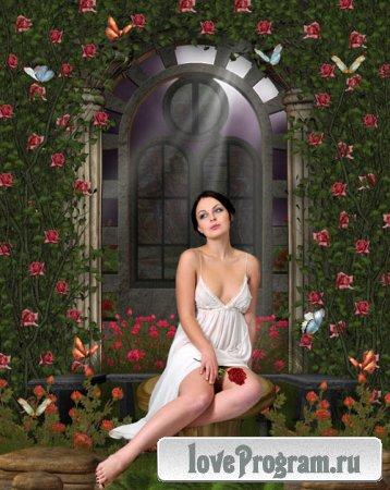 Женский шаблон — Девушка с цветком у арки