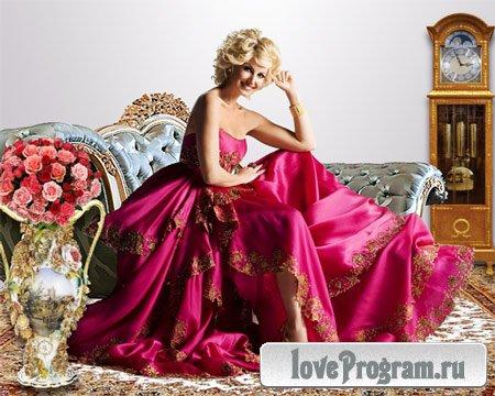 Шаблон женский — Девушка в алом платье