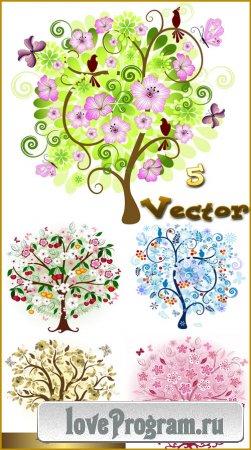 Деревья, времена года, зима, лето, весна и осень — векторный клипарт