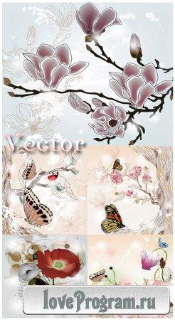 Цветы и бабочки — векторный клипарт