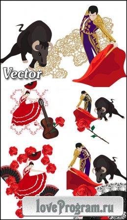 Тореадор, коррида, испанская девушка, танец фламенко — векторный клипарт