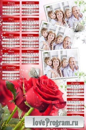 Семейный календарь на 3 фото – Роза красная