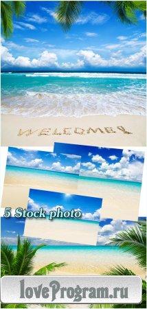 Море, пляж, райский уголок — растровый клипарт