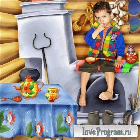 Шикарный детский скрап в стиле народных сказок — Матрёшка
