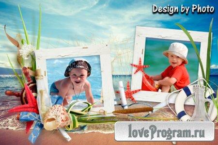 Морская рамка на 2 фото — Лето, солнце, пляж