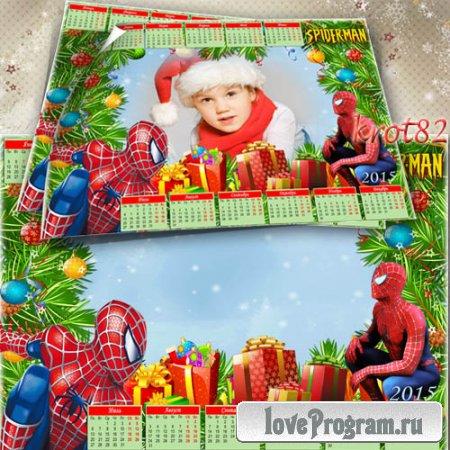 Новогодний календарь для мальчика на 2015 год с рамкой для фото – Человек-паук