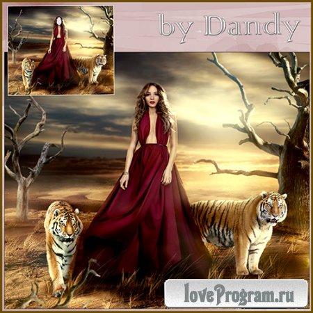 Шаблон для фотошопа – девушка с тиграми