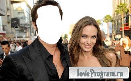 Мужской фото шаблон — Вы и Анджелина Джоли