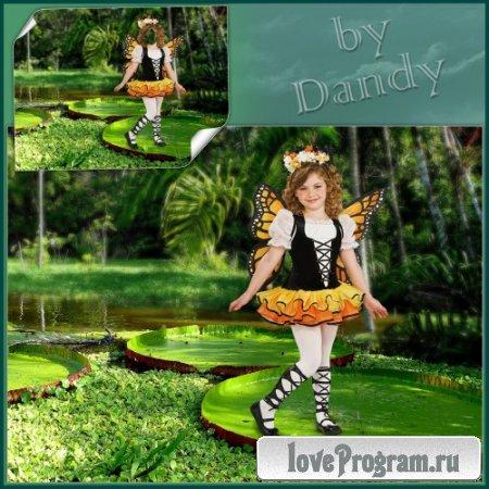 Шаблон для фотошопа — В костюме бабочки на кувшинке