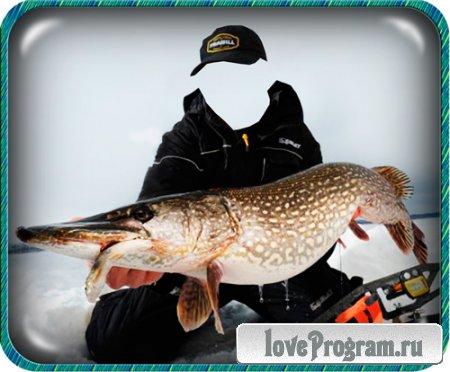 Psd шаблон для фотошоп - Удача на рыбалке